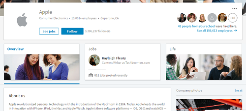 LinkedIn Company Page of Apple Consumer Electronics