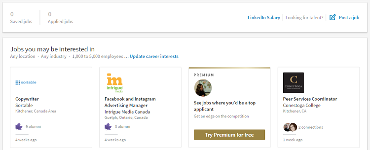 LinkedIn job navigator homepage