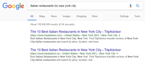 Search results within a location