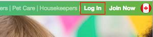 Care.com log in button