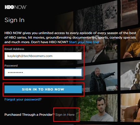 Sign in to HBO Now with your email address and password