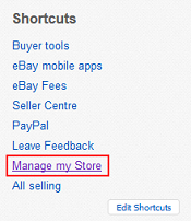 eBay Store managing menu