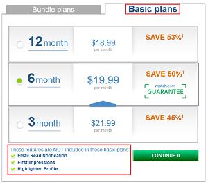 Match.com basic plans