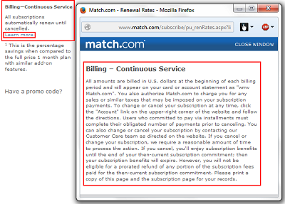 Match.com billing terms