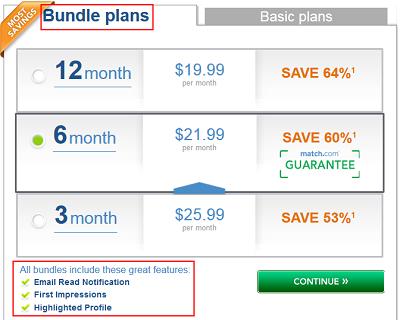 Match.com bundle plans