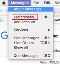 Message Preferences menu button