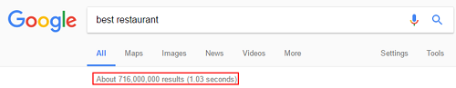 Millions of search results