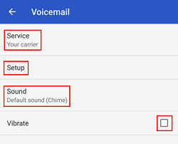 Voicemail settings modification menu