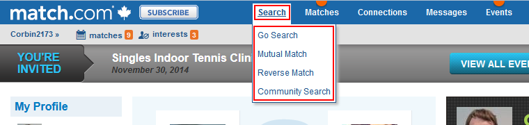 Search menu option
