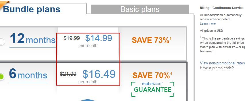 Select Match.com plan