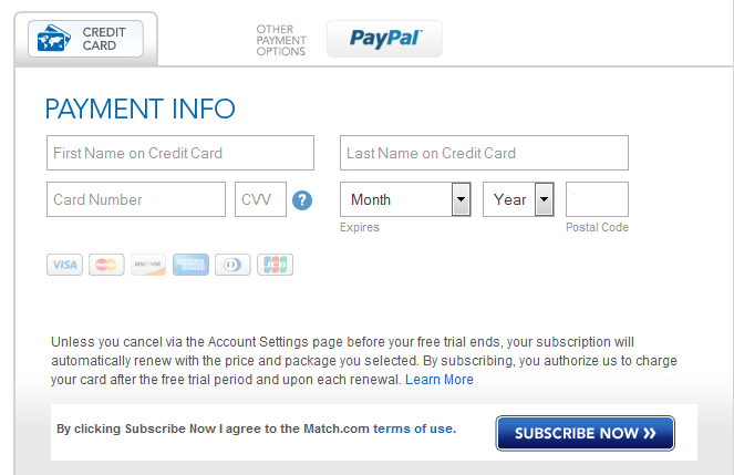 Enter billing information and continue with payment