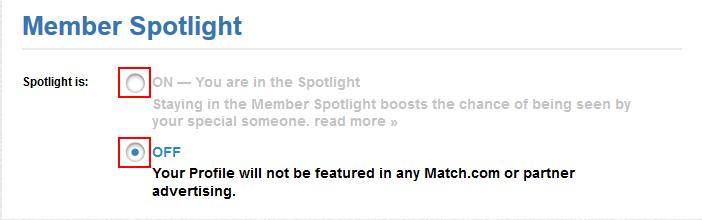 Match Spotlight settings