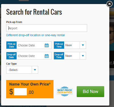Name Your Price feature on Priceline