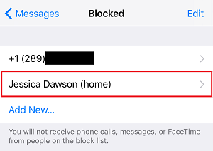 Blocked contact list