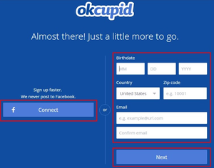 OkCupid sign up form