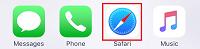 Open Safari browser on iPhone