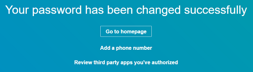 Password changed successfully