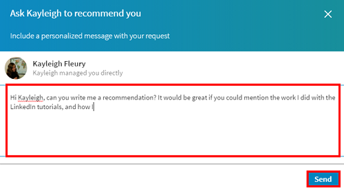 Personalize recommendation message