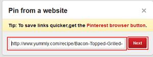 Add web address to add a Pinterest pin