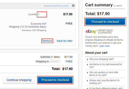 View your eBay shopping cart