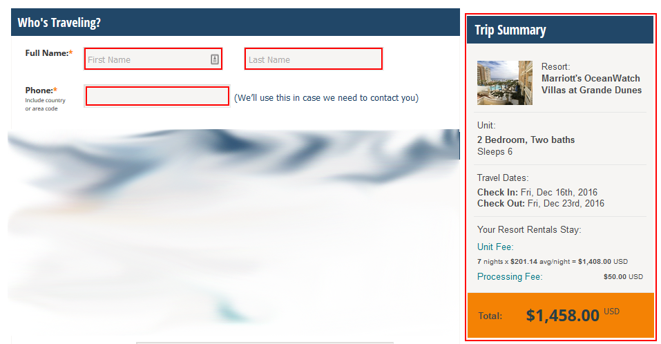 Entering your contact information for renting a timeshare