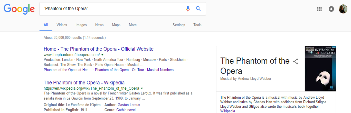 Quotation marks in a Google search