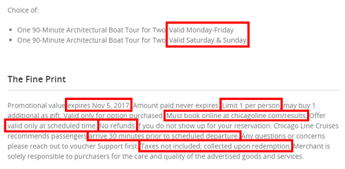 Fine print and restrictions in a Groupon deal agreement