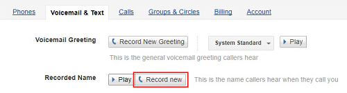 Record name for voicemail greeting