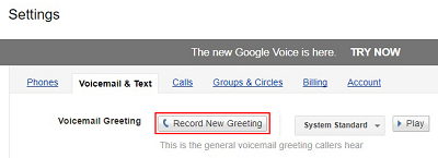 Record new voicemail greeting
