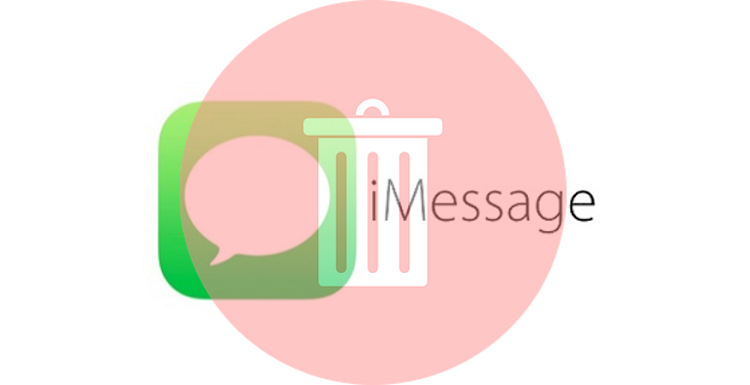 iMessage logo with trash can icon over top