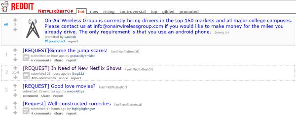 Reddit page for NetflixBestOf