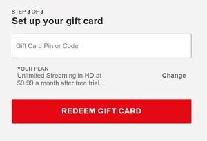 Redeem Netflix card