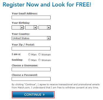 Register for a Match.com account