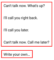 Reject a call with a message