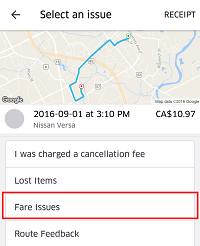 Screen in app for reporting issues with Uber ride