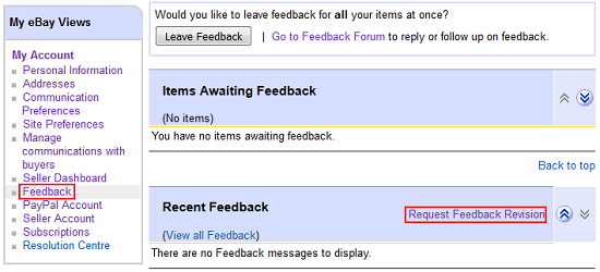 Request revision of feedback button