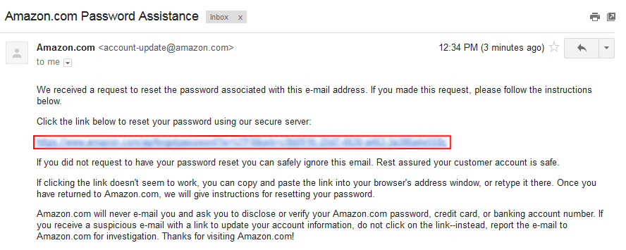 Reset Amazon password form