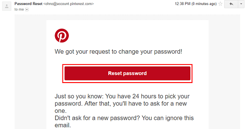Pinterest password email recovery reset