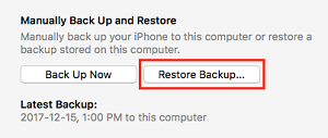 Restore Backup button