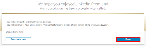 Confirm cancellation of your Premium account