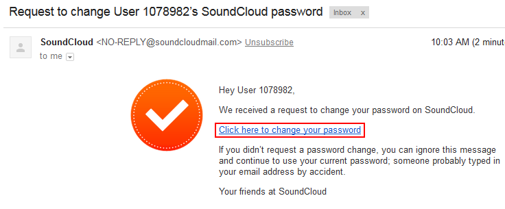 Link to reset your SoundCloud password