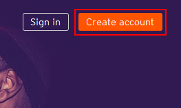 Button for creating a SoundCloud account