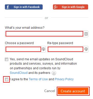 The SoundCloud sign up form