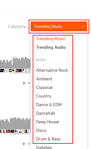 Browse categories of SoundCloud tracks