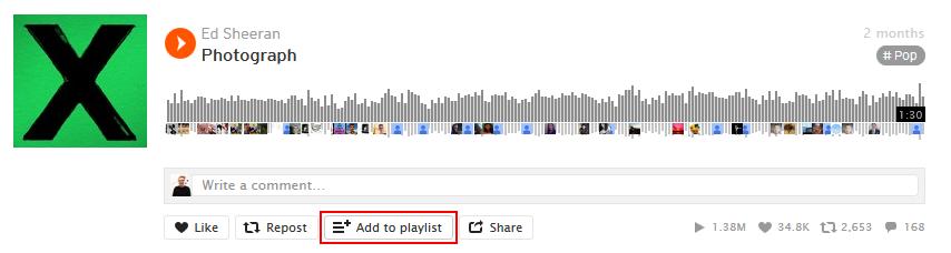 Add to SoundCloud playlist button