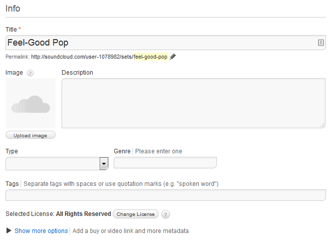 SoundCloud playlist information settings