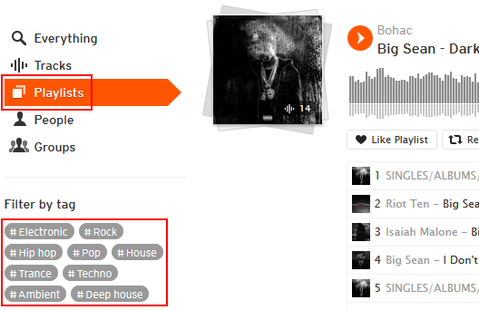 How to search for playlists on SoundCloud
