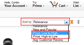 Search for items by price
