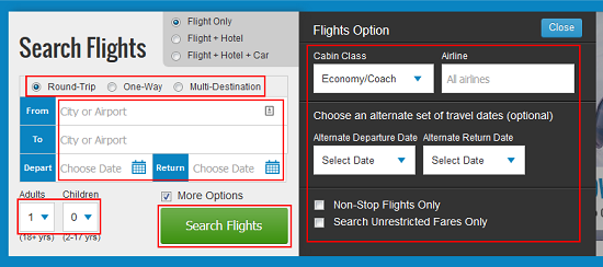 Enter flight search criteria