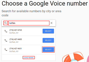 Search for available Google Voice numbers